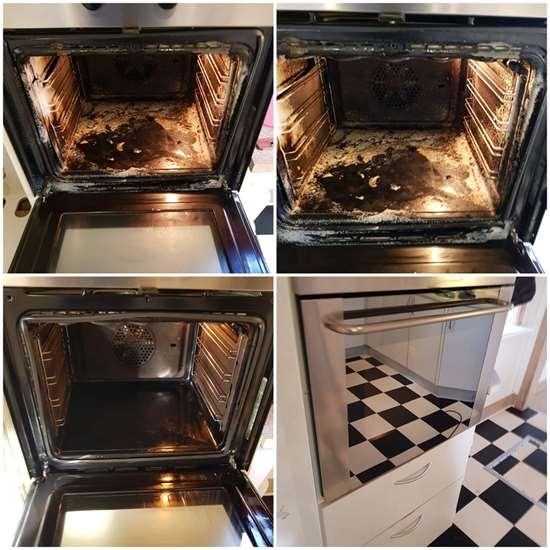 Før og efter rengøring af ovn